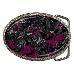 Magenta and gray decorative art Belt Buckles