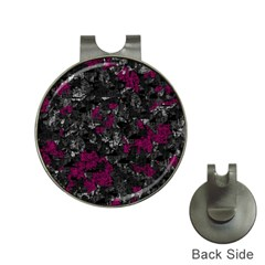 Magenta and gray decorative art Hat Clips with Golf Markers