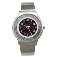 Magenta and gray decorative art Stainless Steel Watch