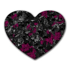 Magenta and gray decorative art Heart Mousepads