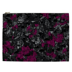 Magenta and gray decorative art Cosmetic Bag (XXL)