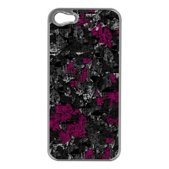 Magenta and gray decorative art Apple iPhone 5 Case (Silver)