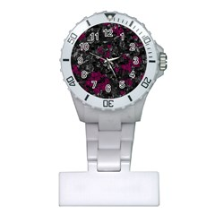 Magenta and gray decorative art Plastic Nurses Watch