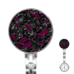 Magenta and gray decorative art Stainless Steel Nurses Watch