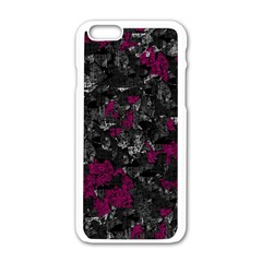 Magenta and gray decorative art Apple iPhone 6/6S White Enamel Case
