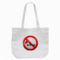 No Naked Flames Prohibition Sign Clipart Tote Bag (White)