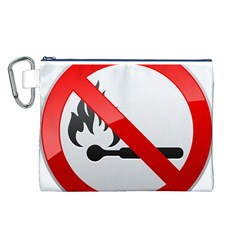 No Naked Flames Prohibition Sign Clipart Canvas Cosmetic Bag (L)