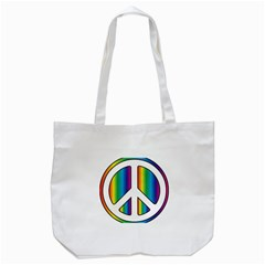 Rainbow Peace Sign Logo Tote Bag (White)