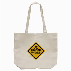 Under Construction Warning Sign Clipart Tote Bag (Cream)