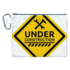 Under Construction Warning Sign Clipart Canvas Cosmetic Bag (XXL)