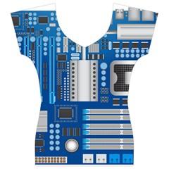Blue Computer Mainboard Women s V-Neck Cap Sleeve Top