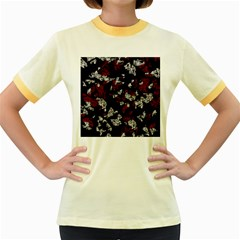 Red, white and black abstract art Women s Fitted Ringer T-Shirts