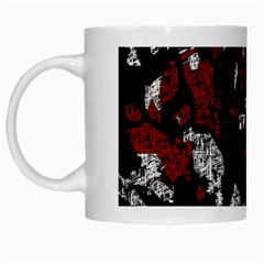 Red, white and black abstract art White Mugs