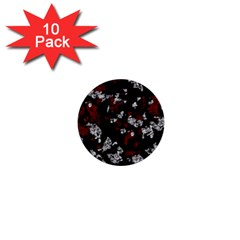 Red, white and black abstract art 1  Mini Buttons (10 pack)