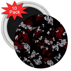 Red, white and black abstract art 3  Magnets (10 pack)
