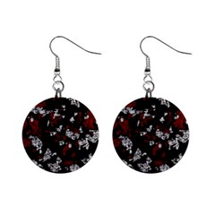 Red, white and black abstract art Mini Button Earrings