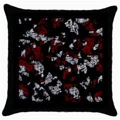 Red, white and black abstract art Throw Pillow Case (Black)