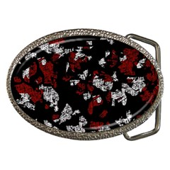Red, white and black abstract art Belt Buckles