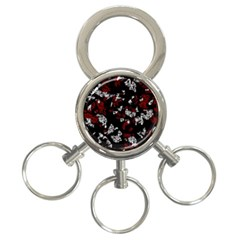 Red, white and black abstract art 3-Ring Key Chains