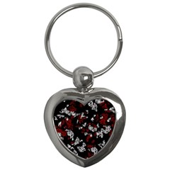 Red, white and black abstract art Key Chains (Heart)
