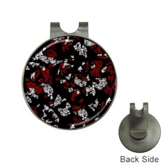 Red, white and black abstract art Hat Clips with Golf Markers