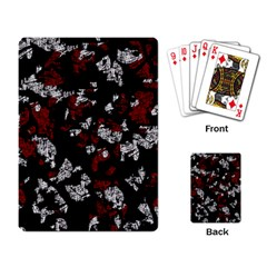 Red, white and black abstract art Playing Card