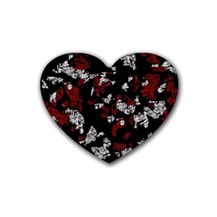 Red, white and black abstract art Rubber Coaster (Heart)