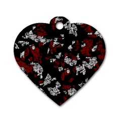 Red, white and black abstract art Dog Tag Heart (Two Sides)