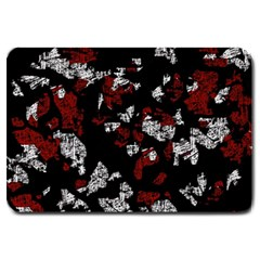 Red, white and black abstract art Large Doormat