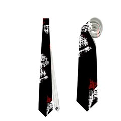 Red, white and black abstract art Neckties (One Side)