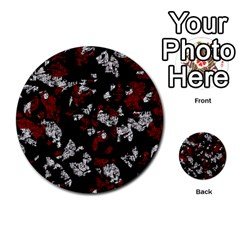 Red, white and black abstract art Multi-purpose Cards (Round)
