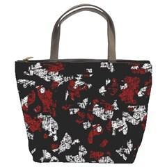 Red, white and black abstract art Bucket Bags