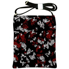 Red, white and black abstract art Shoulder Sling Bags