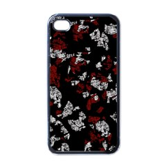 Red, white and black abstract art Apple iPhone 4 Case (Black)