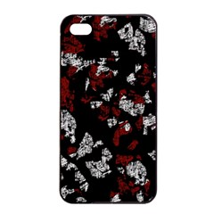 Red, white and black abstract art Apple iPhone 4/4s Seamless Case (Black)