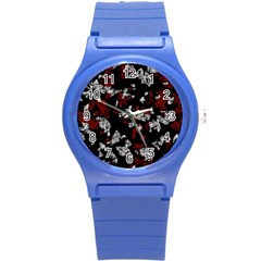 Red, white and black abstract art Round Plastic Sport Watch (S)