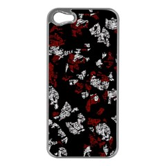 Red, white and black abstract art Apple iPhone 5 Case (Silver)