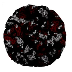 Red, white and black abstract art Large 18  Premium Round Cushions