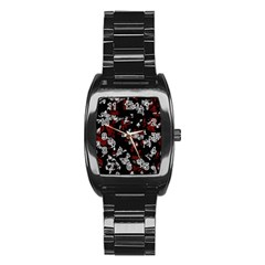 Red, white and black abstract art Stainless Steel Barrel Watch