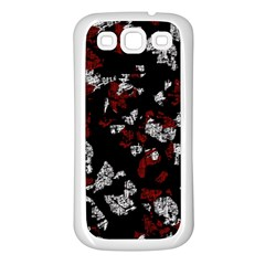 Red, white and black abstract art Samsung Galaxy S3 Back Case (White)