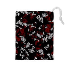 Red, white and black abstract art Drawstring Pouches (Large)