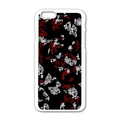 Red, white and black abstract art Apple iPhone 6/6S White Enamel Case