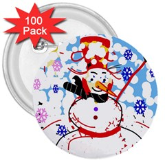 Snowman 3  Buttons (100 pack)