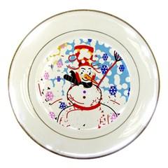 Snowman Porcelain Plates