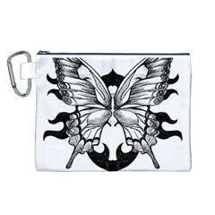 Butterfly Wings Tattoo Canvas Cosmetic Bag (L)
