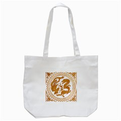 Chinese Dragon Gold Tote Bag (White)