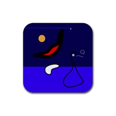 Night duck Rubber Square Coaster (4 pack)