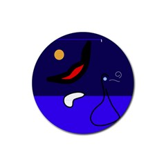 Night duck Rubber Round Coaster (4 pack)