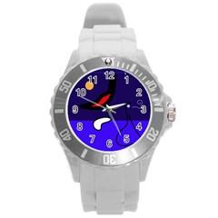 Night duck Round Plastic Sport Watch (L)