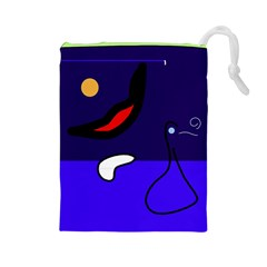 Night duck Drawstring Pouches (Large)
